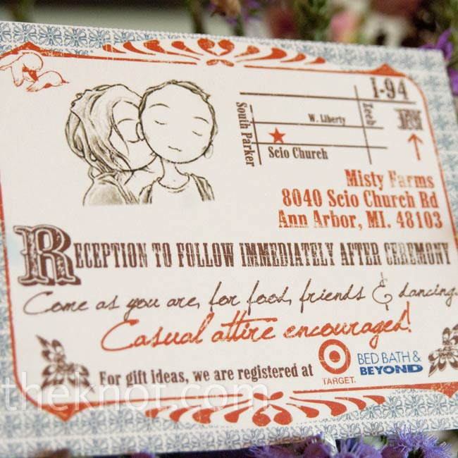 The couple used Photoshop to design their own vintage Western poster-style invitations.