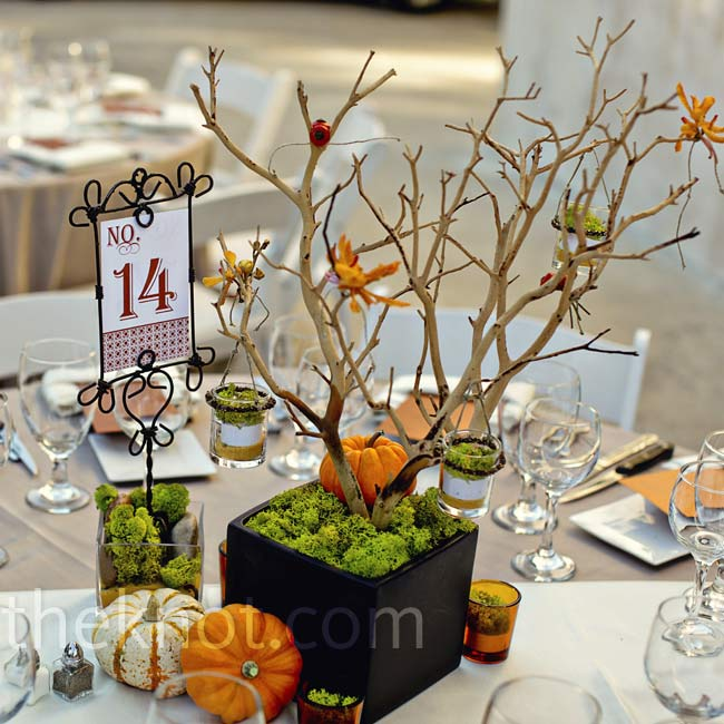 Manzanita branches were planted in modern black vases and decorated with orchids and votives.