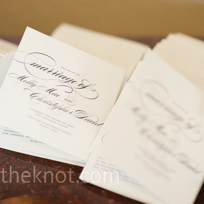 Black-and-white programs with a flowing script font felt formal but not stuffy. Molly and Chris worked with that style for all of their stationery.