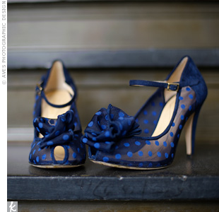 "Courtney's favorite wedding accessory was a pair of navy polka-dot peep toes—conveniently her ""something blue."""
