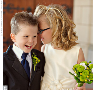 The ring bearer and flower girl, Courtney's nephew and niece, looked as elegant as the adults in classic black and white formalwear.