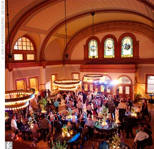 Original stained-glass windows, barrel-vaulted ceilings and big chandeliers are what sold Courtney and Joseph on the venue.