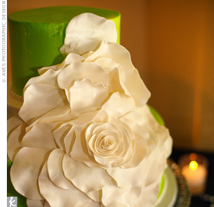 A big sugar flower cascaded down one side of this fashion-forward cake (one of three).