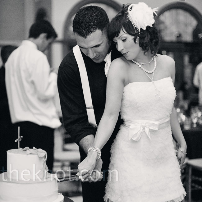 For dancing and the cake cutting, Courtney changed into a vintage gown she'd shortened for the occasion.