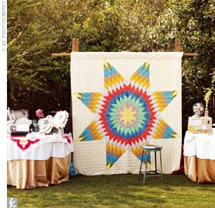 The backdrop for the Polaroid-photo guest book? A quilt that had belonged to Kelley's great-grandmother.