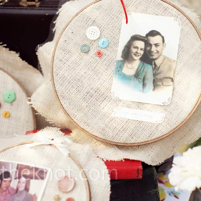 Photos of Kelley's and Ira's late grandparents were displayed in embroidery hoops as a tribute.