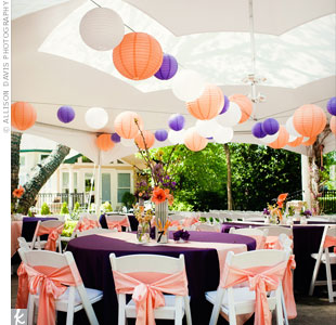 Purple and peach paper lanterns looked festive hanging from the tent ceiling.