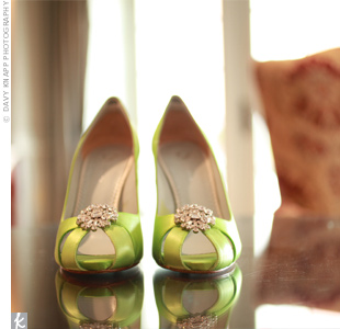 Teelas lime-green satin shoes matched the wedding flowers exactly.