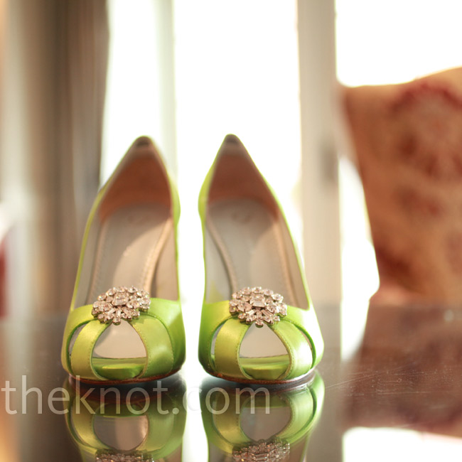 Teela's lime-green satin shoes matched the wedding flowers exactly.