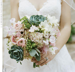 White, Pink and Green Bouquet