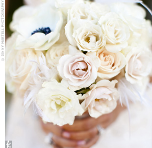 White Flower and Feather Bouquet