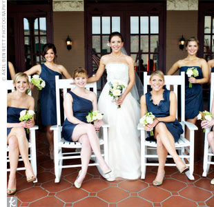 Shannon's bridesmaids chose their own navy-blue J. Crew dresses.
