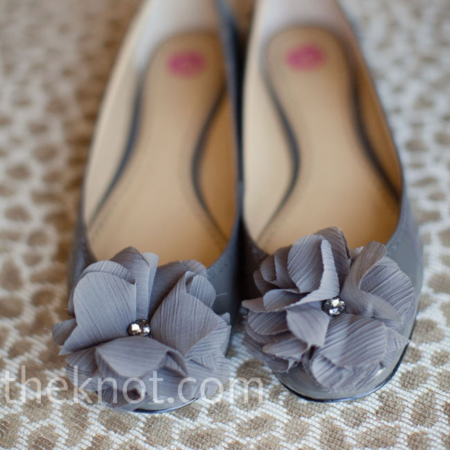 Julie felt comfortable on the dance floor in gray ballet flats topped with rosettes.