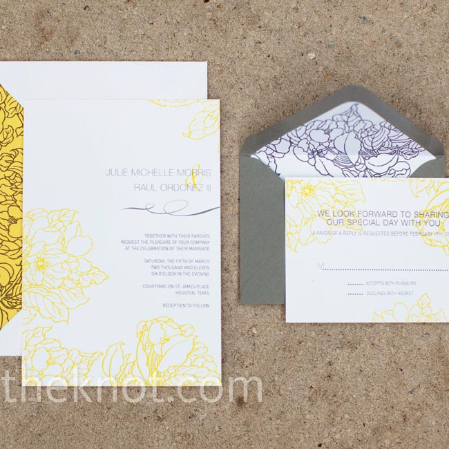Using a gray and yellow color palette gave their floral invitation design a contemporary edge.