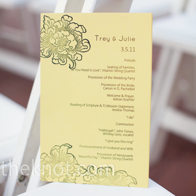 With some help from her bridesmaids, Julie made the programs using yellow card stock, stamps and black ink.