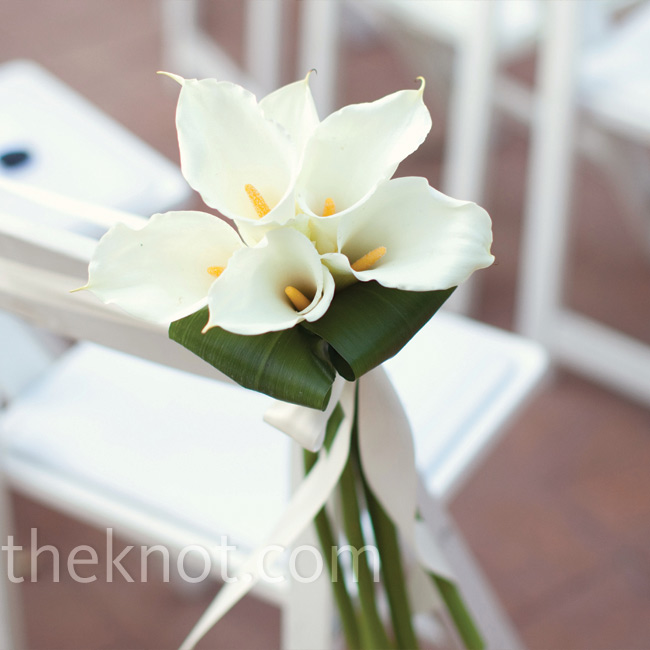Simple bunches of white calla lilies marked both sides of the aisle.