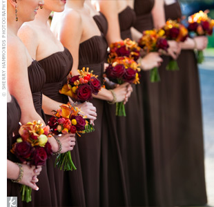 Burgundy Bridesmaid Bouquets