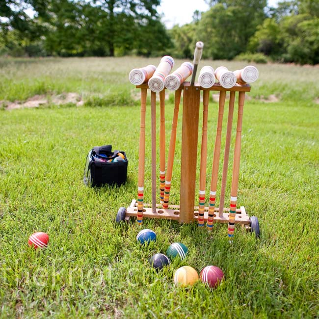 Guests played croquet and bocce ball on the lawn of the mansion during the cocktail hour.