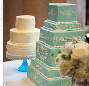 Aqua and Ivory Cakes