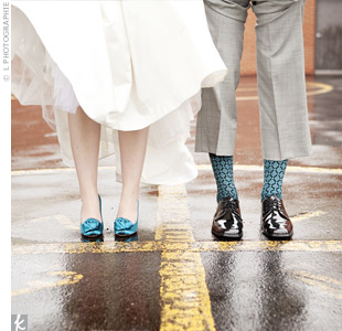 Matt's fun, patterned socks coordinated perfectly with Julie's dark teal Kate Spade pumps.