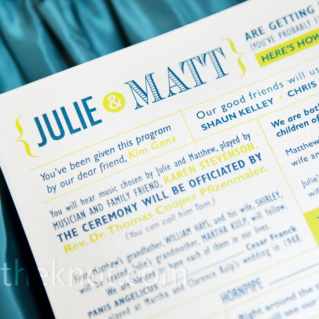 The programs matched the story-telling feel of the invitations and used classic typography in a vibrant teal and spring green palette.
