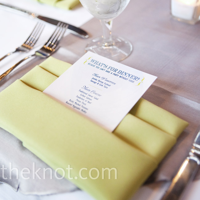 Green napkins were folded into pockets for the menus, which were printed in teal and spring green on white cardstock.
