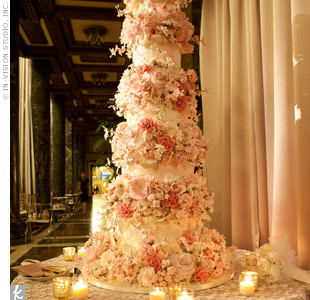 White and Pink Tall Cake