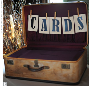 Guests dropped their cards into a vintage suitcase.