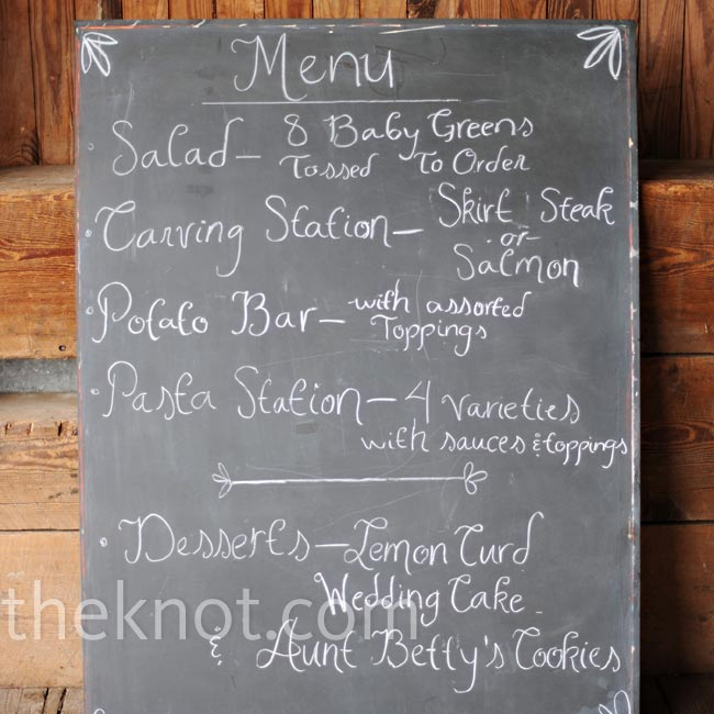 Self-proclaimed foodies, Tiffany and Ryan served a range of food from pork sliders to skirt steak and purple mashed potatoes. They wrote out the menu on a chalkboard.