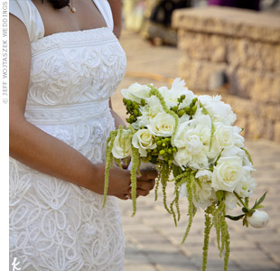 Rupal carried a cascading bouquet of peonies, roses and hanging amaranthus.