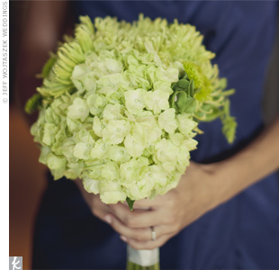 The bridesmaids carried an all-green mix of hydrangeas, spider mums and bells of Ireland.