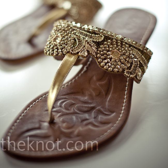 Gold-embellished sandals were perfect for the Indian nuptials.