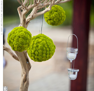 Bright green pomanders (made out of mums) hanging from manzanita branches were part of the Catholic ceremony's nature-inspired décor.