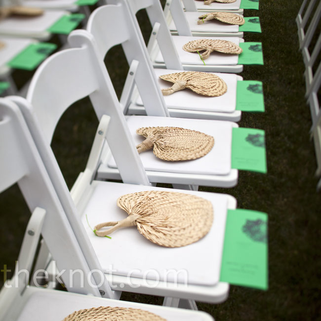 Rattan fans were placed on the ceremony seats, along with the programs, to keep guests cool.