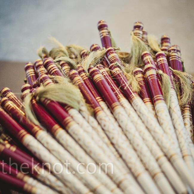 The couple had these dandiya sticks for guests to take at the reception (they're usually held during traditional dancing).