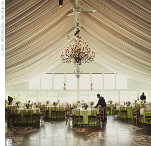 The ballroom, with an elegant tented ceiling, panoramic view and existing chandeliers, needed little extra décor.