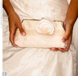 This clutch matched perfectly with Elizabeth's Anjolique dress.