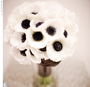 Anemones were the perfect complement to Dana's dress and one of her favorite things about the wedding.