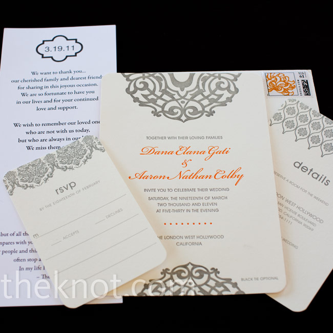 Dana and Aaron chose an invitation suite with mix and match patterns and a gray, white and orange color palette, printed on recycled bamboo paper.