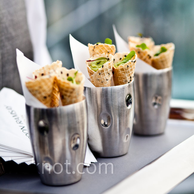 Mini waffle cones filled with guacamole were the most talked-about appetizer at the reception.