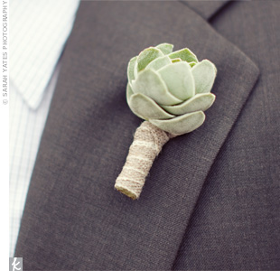 All of the guys wore simple succulent boutonnieres.