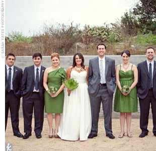 The charcoal suits and ties on the guys paired well with the bridesmaids moss green dresses.