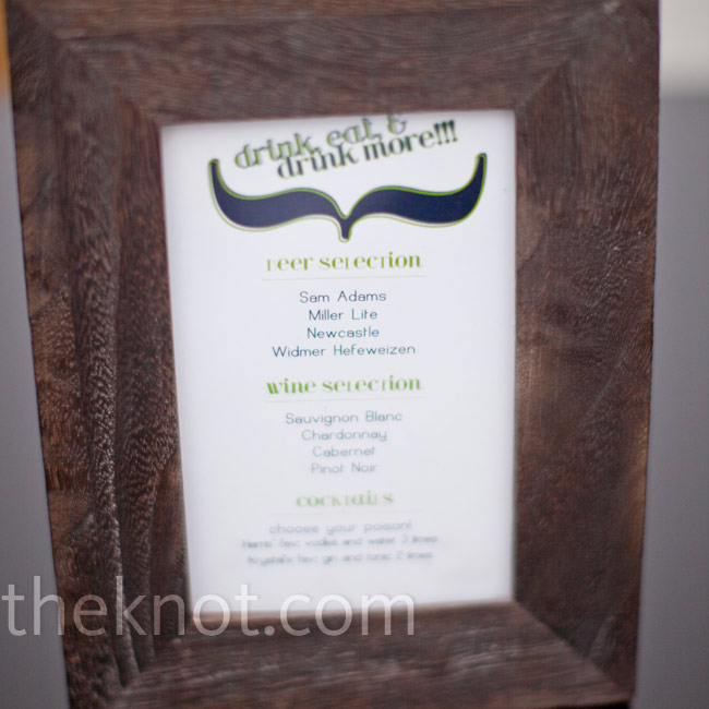 Beer, wine and cocktail selections were listed on graphic menu cards set in wooden frames.