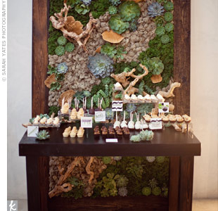 To go with the heavy appetizers, the couple also had a dessert bar. A custom panel of succulents, moss and grape wood served as the backdrop.