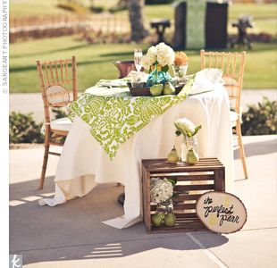 Green and White Sweetheart Table