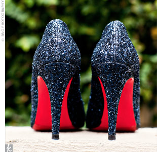 Midnight blue sparkly Louboutins were perfect for Eden's look.