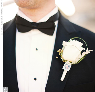 In honor of his dad, who passed away, Steve wore a small picture of him on his rose boutonniere.