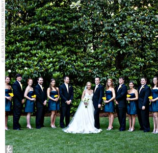 The bridesmaids wore strapless dresses in a rich shade of blue while the guys coordinated perfectly in their navy suits paired with yellow ties.