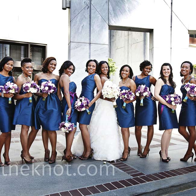 The bridesmaids wore teal silk dupioni dresses in varying styles that suited their individual personalities.
