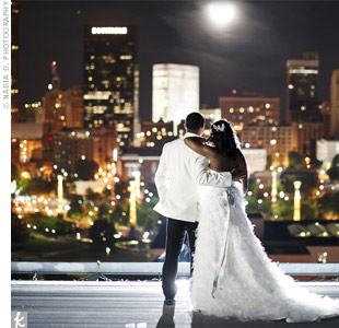 The couple loved the expansive view of downtown Atlanta from the rooftop reception site.